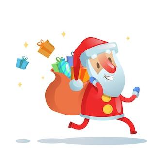 クリスマスプレゼントを届けるために走っているサンタクロース。カラフルなフラットイラスト。
