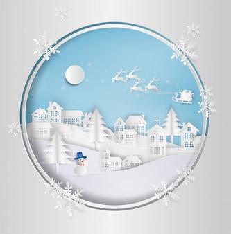 Санта-клаус на небо, идущий в город. с зимним пейзажем со снежинками. бумага