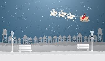 Санта-Клаус на небе, прибывающий в Городской городской город в зимний сезон