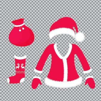 サンタクロースの衣装とアクセサリー-ふわふわのポンポン付きの帽子、スーツ、ミトン、鹿の靴下、ギフト付きのバッグ。透明な背景に分離された新年とクリスマスの装飾。