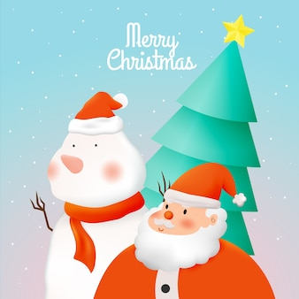 Santa claus in paper art style with snow and snowflake background  illustration