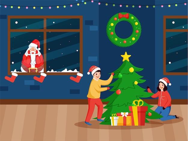 窓から覗くサンタクロースと幸せな子供たちが家のクリスマスツリーを飾った