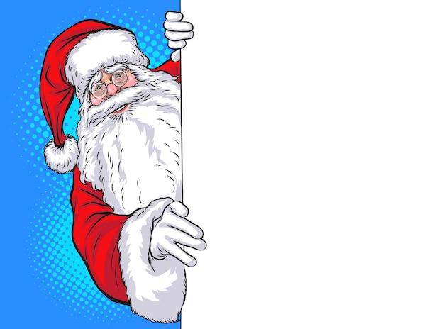 Santa claus peeking holding blank sign pop art comic style