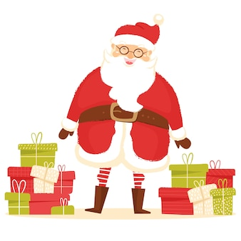 Santa claus and pile of gifts greeting card for new year and christmas celebration