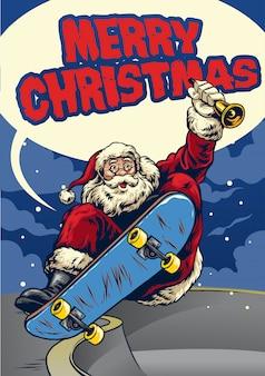 Santa claus playing skateboard greeting christmas