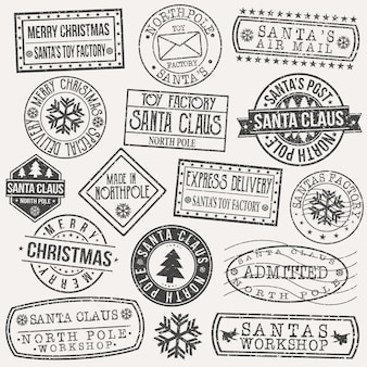 Santa claus postcard stamp vector art design retro postage