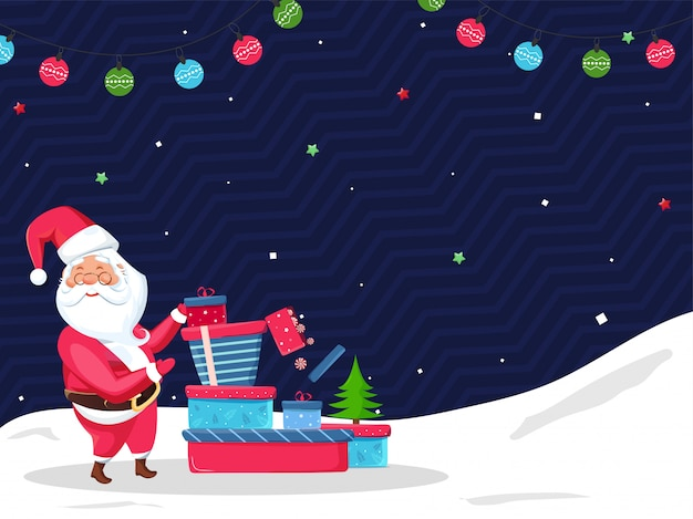 Santa claus presenting gift boxes with xmas tree and colorful baubles garland