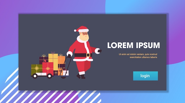 Санта-клаус тянет тележку с подарочными коробками с рождеством зимние праздники концепция празднования горизонтальная плоская копия пространства векторная иллюстрация