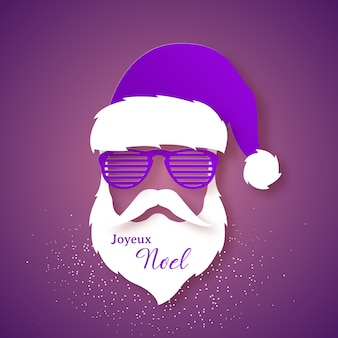 Santa claus in a purple hat and shutter glasses