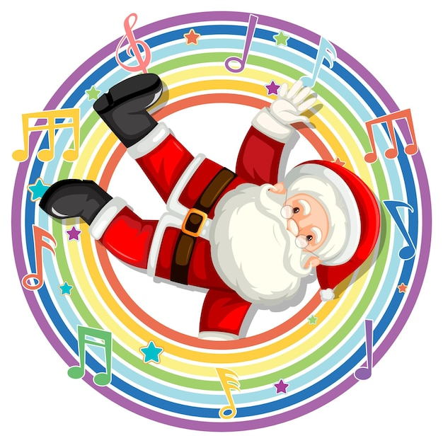 Santa claus in rainbow round frame with melody symbols