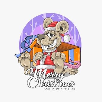 Иллюстрация крысы санта клауса
