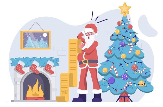 Дед мороз читает свой список желаний и удивляется елке и камину сзади.