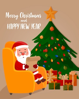 サンタクロースは、クリスマスツリーを背景に、肘掛け椅子で手紙を読みます。