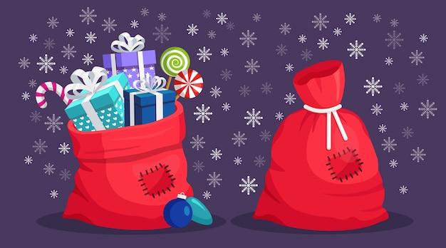 Красный мешок санта-клауса с подарочной коробкой. рождественский мешок, полный подарков