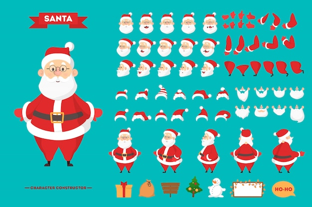 Santa claus in red clothes character set for the animation with various views, hairstyle, emotion, pose and gesture. happy old man with white beard.   illustration in cartoon style