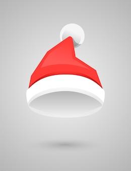 Pompon와 산타 클로스 빨간 모자입니다. 산타 크리스마스 모자 장식입니다. 평면 스타일의 벡터 일러스트 레이 션