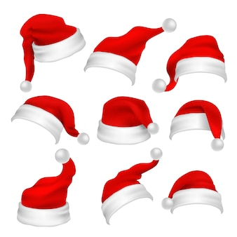 Santa claus red hats photo booth props. christmas holiday decoration vector elements. santa claus xmas hat for photo booth, cap costume illustration