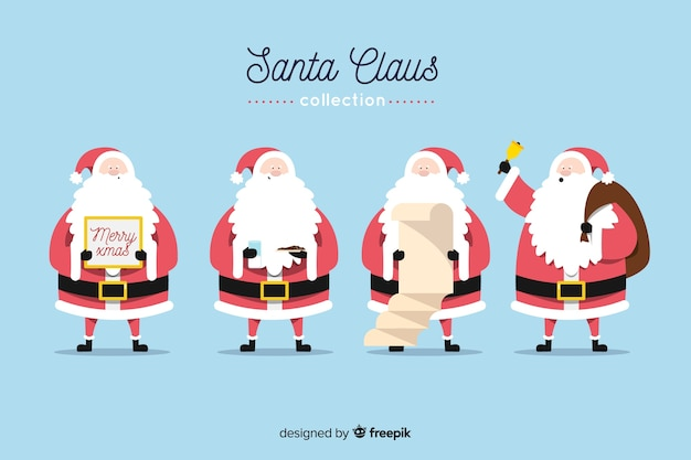Santa claus in red and long beard collection