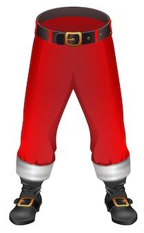 Санта-клаус красные брюки и обувь рождественский аксессуар одежды, изолированные на белом
