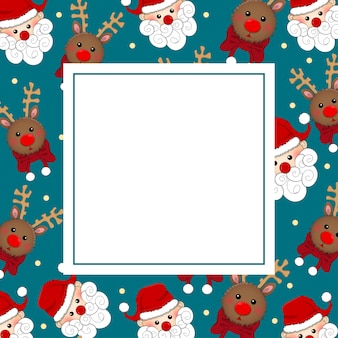 Santa claus and reindeer on blue banner card