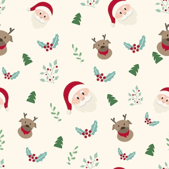 The santa claus and reindeer christmas seamless pattern.