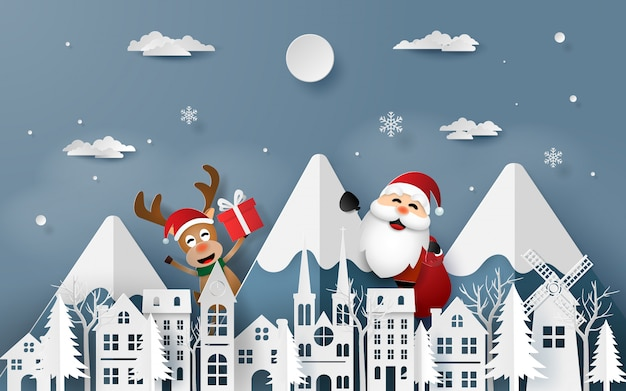 Santa claus and reindeer coming to town