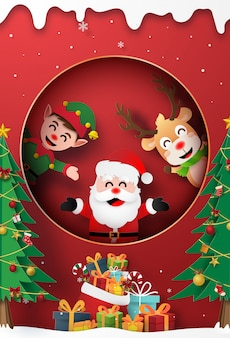 Santa claus, reindeer and elf at the window with christmas gift