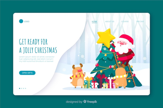 Santa claus and reindeer landing page