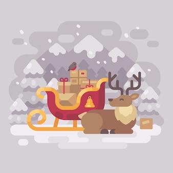 Santa claus reindeer near sleigh