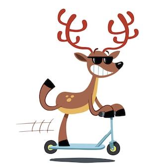 フルスピードでスクーターに乗るサンタクローストナカイ