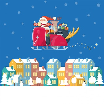 Santa claus and reindeer riding vintage scooter flying over winter town at night in flat cartoon style