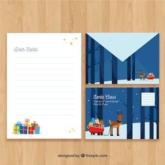 Santa claus reindeer scene letter template
