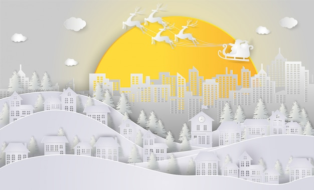 Santa claus and reindeer on the sky and big moon coming to city.