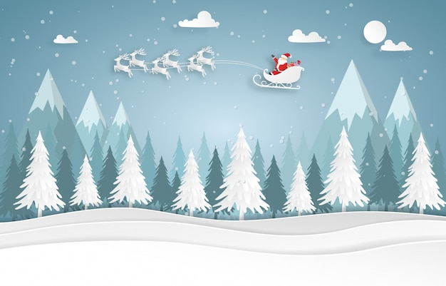 Santa claus and reindeer on the sky in the forest