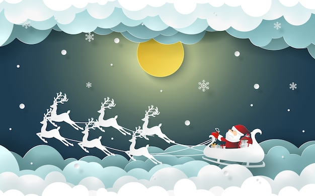 Santa claus and reindeer on the sky with full moon