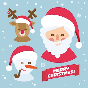 Santa claus, reindeer and snowman. blue merry christmas vectorized card