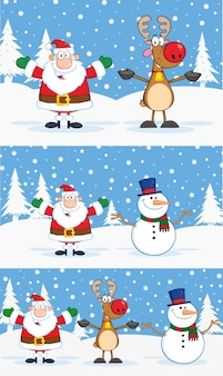 Santa claus, reindeer, and snowman cartoon characters.  collection set with background