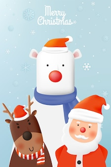 Santa claus and reindeer with beautiful background in paper art