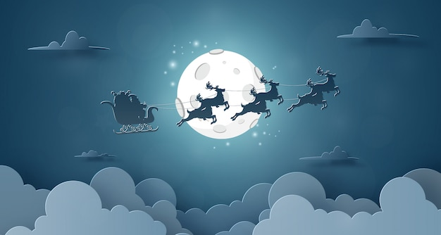 Santa claus and reindeers flying on the sky with full moon