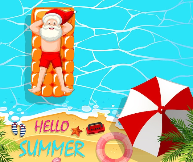 Santa claus relax in the pool summer theme