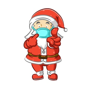 Санта-клаус не забывает использовать маску для празднования рождества