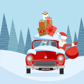 Santa claus in retro car with gift boxes on roof