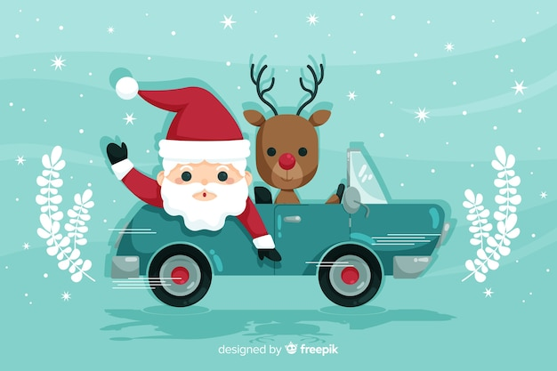 Santa claus ridding car with reindeer