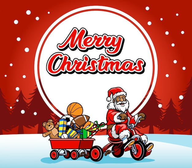 Santa claus ride bicycle greeting christmas