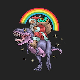 Santa claus ride dinosaur illustration