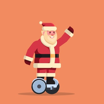 Santa claus ride electric scooter merry christmas holiday new year concept flat