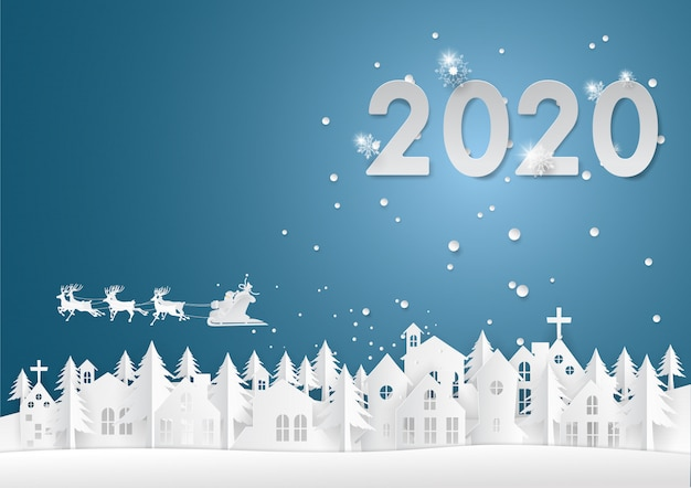 Santa claus ride reindeers top the whit town in 2020 background
