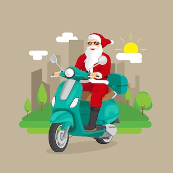 Santa claus ride scooter with city illustration