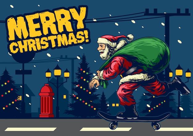Santa claus ride skateboard around the city