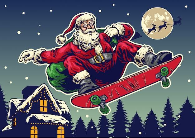 Santa claus ride skateboard in vintage hand drawing